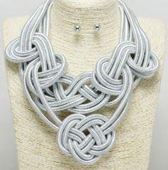 Silver Coil Necklace Set