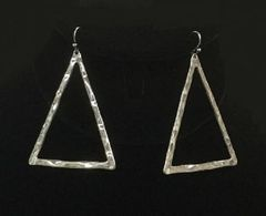 Silver Triangle Hammered Earrings