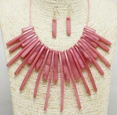 Acrylic Fashion Necklace Set-MAUVE