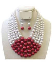 Sorority Pearls & Necklace Set-RED