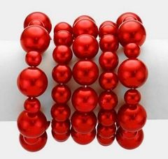 5 Strand Ruby Red Stretch Bracelet