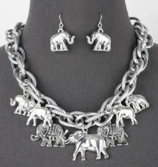 Chunky Silver Metal Elephant Necklace Set