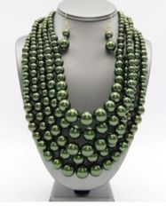 Multi Layer Bead Necklace Set-GN
