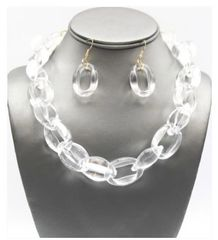 Lucite Link Necklace Set-Clear
