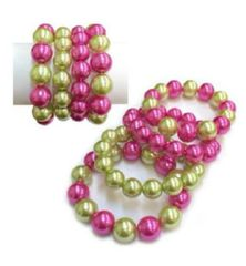 4 Layers Pink & Green Pearl Bracelet