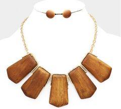 Wooden Pendant Necklace Set