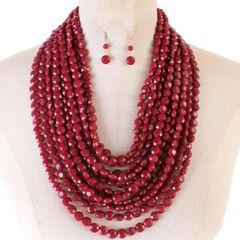 Round Bead Necklace Set-Burgundy