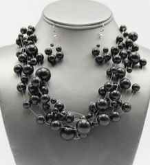 Invisible Cord Bead Necklace Set-Black