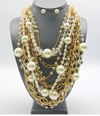 Multi Pearl/Gold Filled Necklace Set