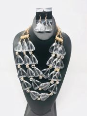 Clear Gold Statement Chunky Necklace Set