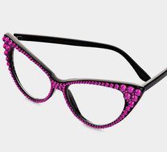 Fashion Crystal Cat Eyeglasses - Fuchsia