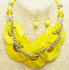 Chunky Shell Braided Necklace & Earring Set-Yellow