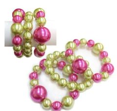 3 Layer Pink & Green Bracelet