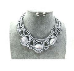 Silver Mesh Necklace Set
