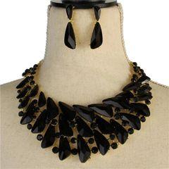 Black Crystal Necklace Set