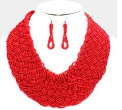 Large Seed Bead Necklace Set-Red