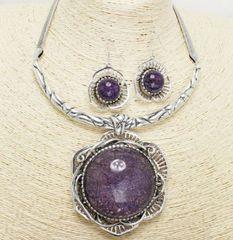 Flower Pendant Necklace Set-Purple
