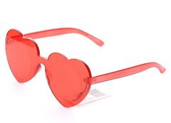 Rimless Fashion Heart Sunglasses-Red