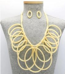 Resin Creme Necklace & Earring Set