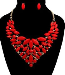 Red Beaded Gold Necklace Set