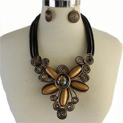 Large Metal Flower Necklace Set-GD