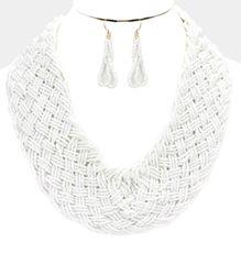 Large Seed Bead Necklace Set-White