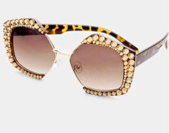 Rhinestone Octagon Topaz Fashion Glasses