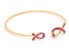 Crystal Cuff Pink Ribbon Awareness - Gold