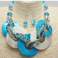 Chunky Shell Braided Necklace & Earring Set-Powder Blue