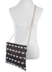 Crossbody Clutch Elephant Print Handbag-Black
