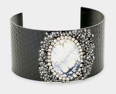 Black Metal Cuff Pearl Bracelet