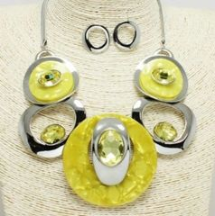 Retro Acrylic Necklace Set-Yellow