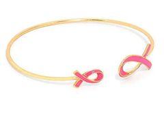 Enamel Cuff Pink Ribbon Awareness - Gold Enamel