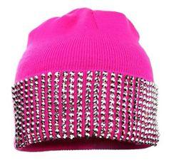 Solid Rhinestone Stud Beanie Hat-Pink