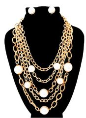 Gold Chain/Pearl Necklace Set