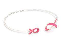 Enamel Cuff Pink Ribbon Awareness - Silver