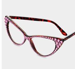 Fashion Crystal Cat Clear Eyeglasses-LT Rose