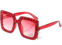 d4ea655c4a1 Diamond Square Crystal Sunglasses-Red