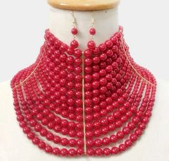 Red Pearl Choker Necklace Set