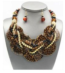 Chunky Shell Braided Necklace & Earring Set-Leopard Print