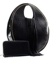 Ostrich Round Satchel Handbag/with matching Wallet-Black