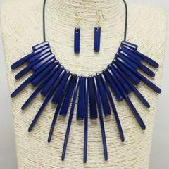 Acrylic Fashion Necklace Set-NAVY