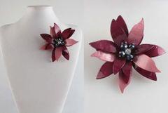 Large Flower Acrylic Brooch - Burgundy