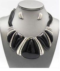 Bib Cord Necklace Set-Black