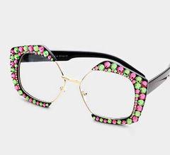Rhinestone Octagon Pink & Green Fashion Glasses