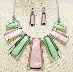 Pink & Green Silver Pendant N/E