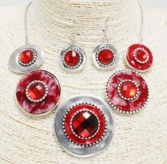 Metal Stone/Charm Necklace Set-Red
