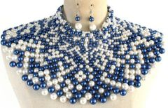 Pearl Armour Bib Choker Necklace Set-Blue/White