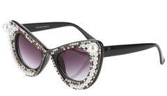 3dbc12b5e4c Cat Eye Pearl Filledl Gold Sunglasses