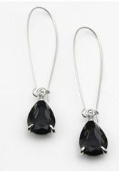 Teardrop Pendant Earrings-Black